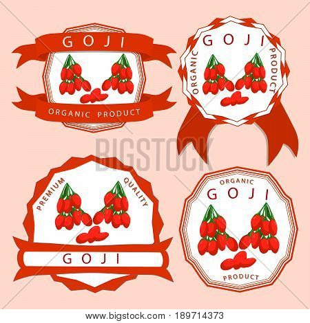 Vector illustration logo for whole ripe fruit red goji cut half sliced garnet berry background close-up.Goji drawing consisting of tag label natural sweet food.Eat fresh raw organic berries gojis.