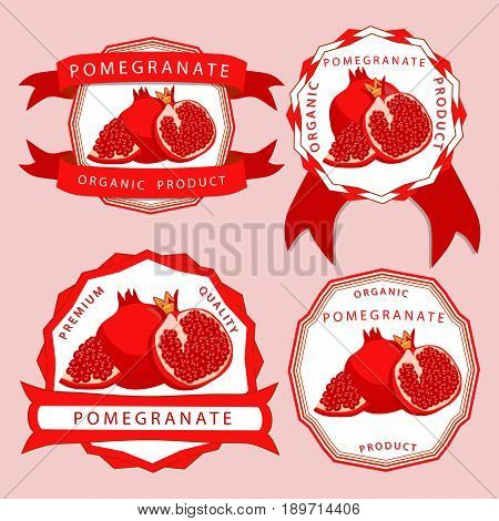 Vector illustration logo for whole ripe fruit red pomegranate cut half sliced garnet background.Pomegranate drawing consisting of tag label natural sweet food.Eat fresh raw organic fruits pomegranates