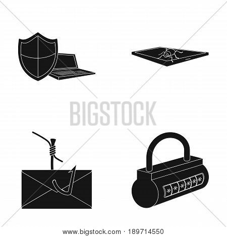 Hacker, system, connection .Hackers and hacking set collection icons in black style vector symbol stock illustration .