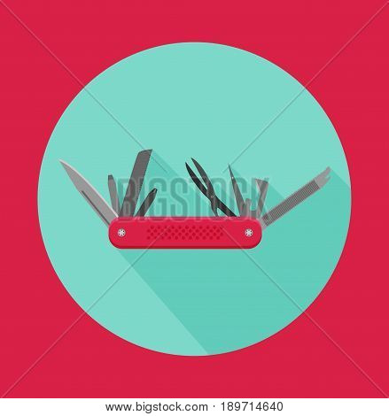 Flat Design Modern Vector Illustration Of Multifunctional Pocket Knife Icon, Camping And Hiking Equi
