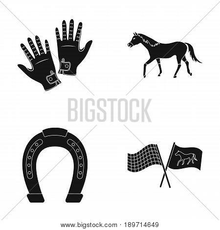 Race, track, horse, animal .Hippodrome and horse set collection icons in black style vector symbol stock illustration .