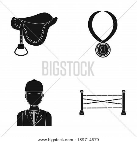 Saddle, medal, champion, winner .Hippodrome and horse set collection icons in black style vector symbol stock illustration .