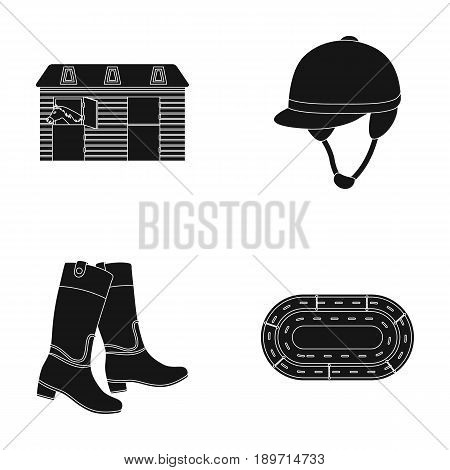 Boots, grass, stadium, track, rest .Hippodrome and horse set collection icons in black style vector symbol stock illustration .