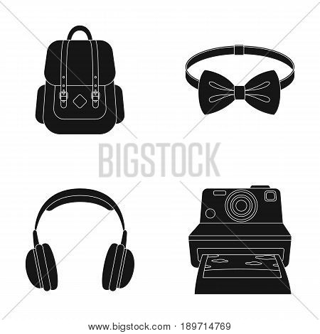 Hipster, fashion, style, subculture .Hipster style set collection icons in black style vector symbol stock illustration .