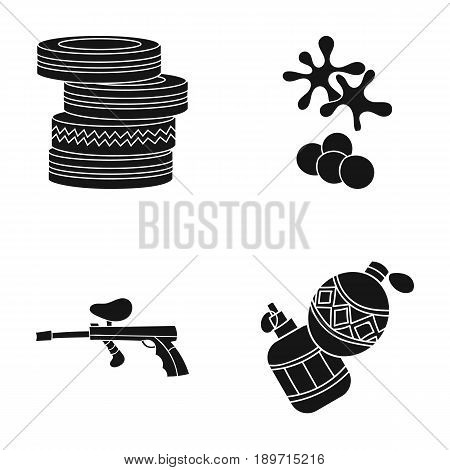Competition, contest, equipment, tires .Paintball set collection icons in black style vector symbol stock illustration .