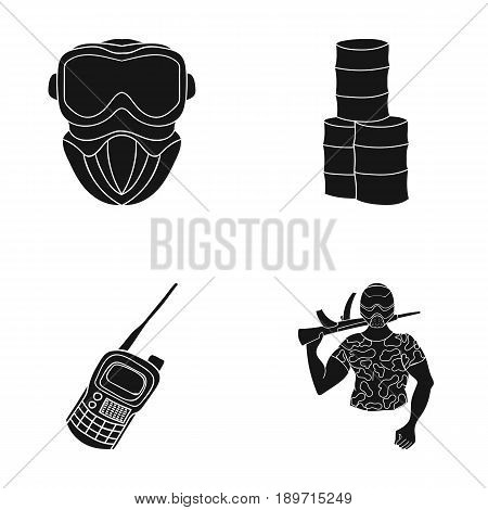 Equipment, mask, barrel, barricade .Paintball set collection icons in black style vector symbol stock illustration .