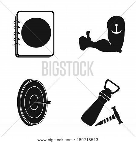 Restaurant, cafe, chair, bowling ball .Pub set collection icons in black style vector symbol stock illustration .