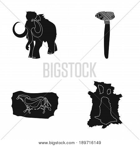 Primitive, mammoth, weapons, hammer .Stone age set collection icons in black style vector symbol stock illustration .