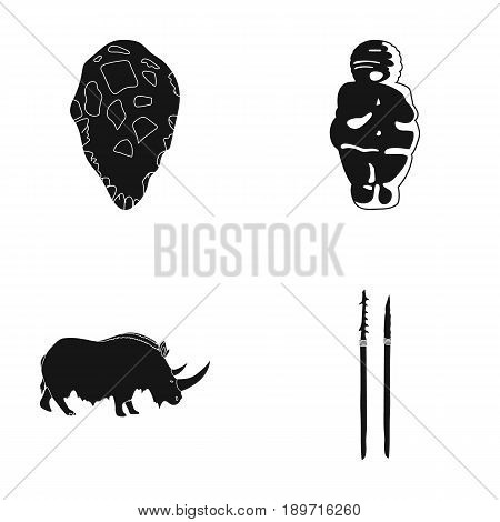 Primitive, woman, man, cattle .Stone age set collection icons in black style vector symbol stock illustration .