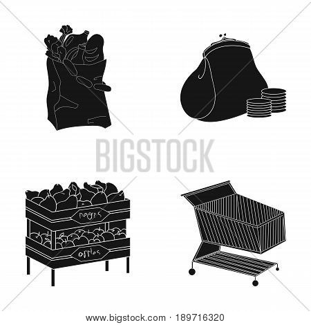 Sausages, fruit, cart .Supermarket set collection icons in black style vector symbol stock illustration .