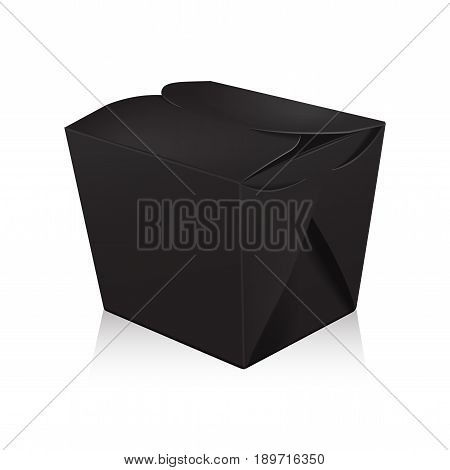 Closed black blank wok box mockup. Vector 3d packaging. Carton box for asian or chinese take away food paper bag for your design