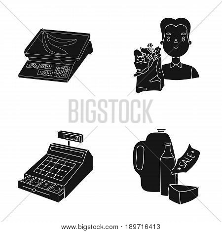 Package, scales, banana, fruit .Supermarket set collection icons in black style vector symbol stock illustration .