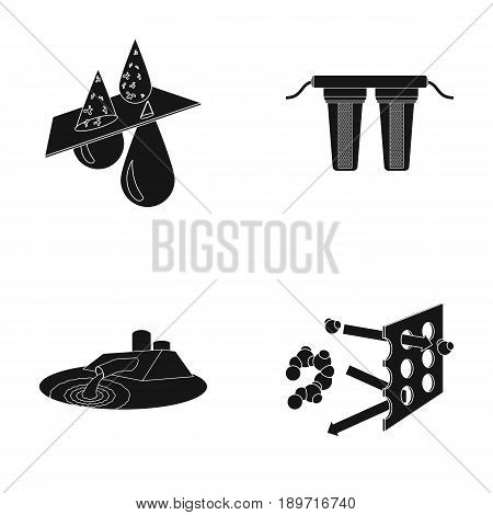 Purification, water, filter, filtration .Water filtration system set collection icons in black style vector symbol stock illustration .