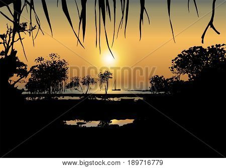 Vector illustration of tropical sunset on the sea shore with mangrove trees and a boat. Romantic landscape background