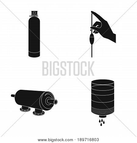 System, balloon, hand, trial .Water filtration system set collection icons in black style vector symbol stock illustration .
