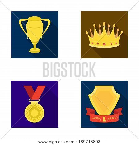 A silver cup, a gold crown with diamonds, a medal of the laureate, a gold sign with a red ribbon.Awards and trophies set collection icons in flat style vector symbol stock illustration .