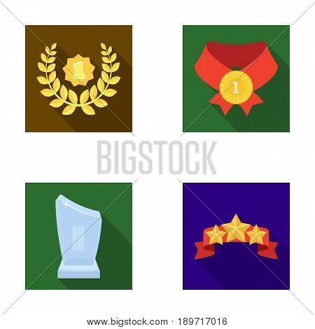 Winner for the first place in the competition, a crystal prize, a ribbon with the stars, a medal on the red ribbon.Awards and trophies set collection icons in flat style vector symbol stock illustration .