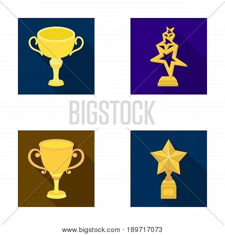 Silver cup for the second place, gold stars on the stand, a cup with a star, a gold cup.Awards and trophies set collection icons in flat style vector symbol stock illustration .