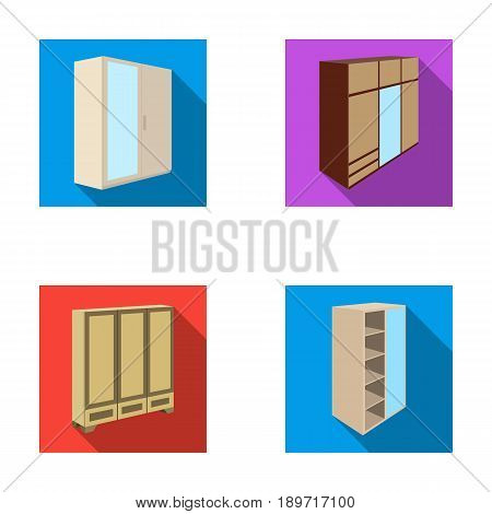 Wardrobe with mirror, wardrobe, shelving with mezzanines. Bedroom furniture set collection icons in flat style vector symbol stock illustration .