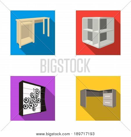 Dressing table, corner shelves, computer desk, wardrobe with glass. Bedroom furniture set collection icons in flat style vector symbol stock illustration .