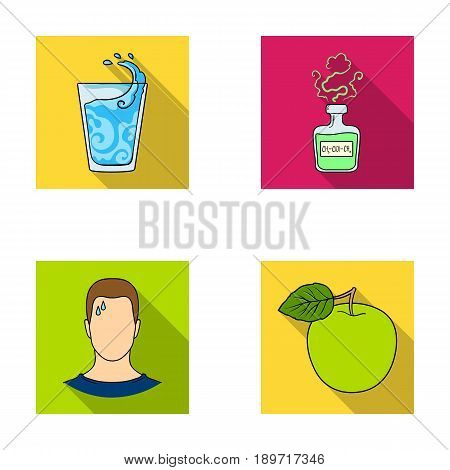 A glass of water, a bottle of alcohol, a sweating man, an apple. Diabeth set collection icons in flat style vector symbol stock illustration .