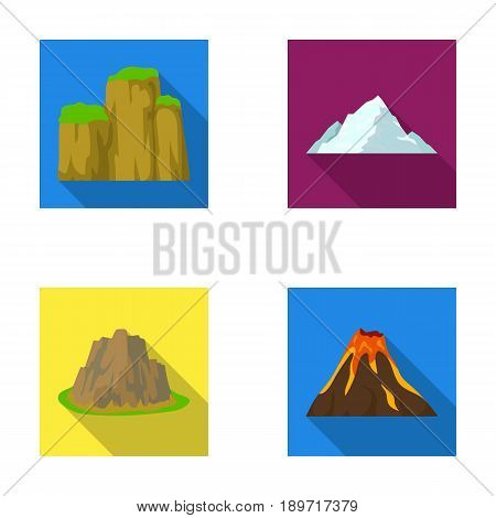 Sheer cliffs, a volcanic eruption, a mountain with a beach, a glacier. Different mountains set collection icons in flat style vector symbol stock illustration .