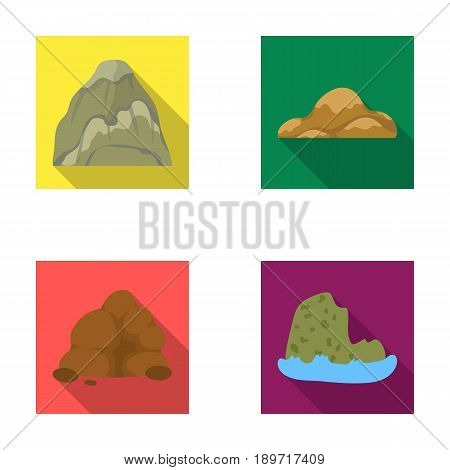 Boulders, a rounded mountain, rocks in the sea. Different mountains set collection icons in flat style vector symbol stock illustration .