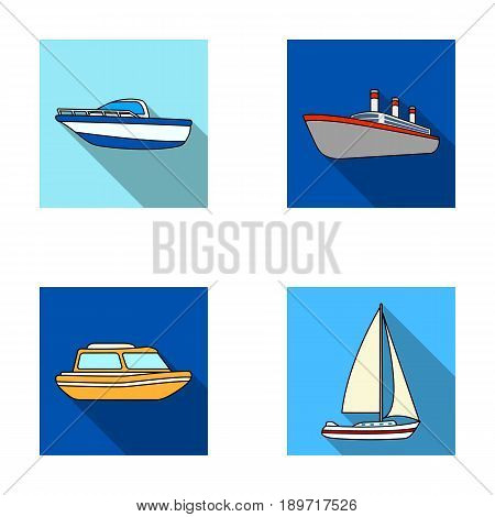 Protection boat, lifeboat, cargo steamer, sports yacht.Ships and water transport set collection icons in flat style vector symbol stock illustration .