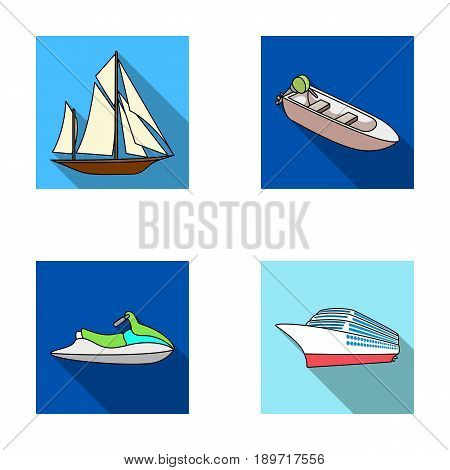 Ancient sailboat, motor boat, scooter, marine liner.Ships and water transport set collection icons in flat style vector symbol stock illustration .