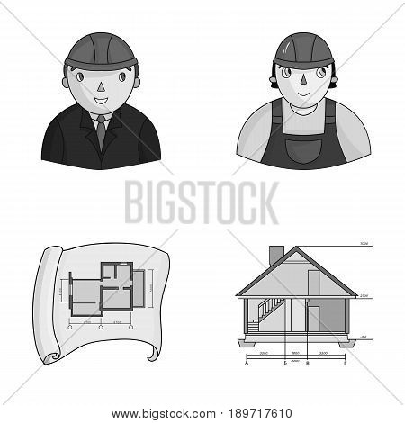 Engineer-constructor, construction worker, site plan, technical drawing of the house. Architecture set collection icons in monochrome style vector symbol stock illustration .