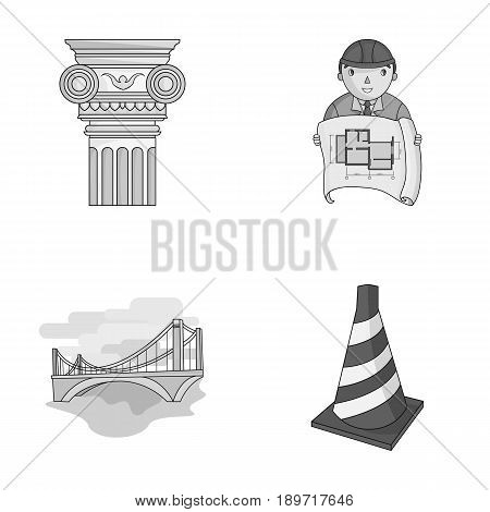 Column, master with drawing, bridge, index cone. Architecture set collection icons in monochrome style vector symbol stock illustration .