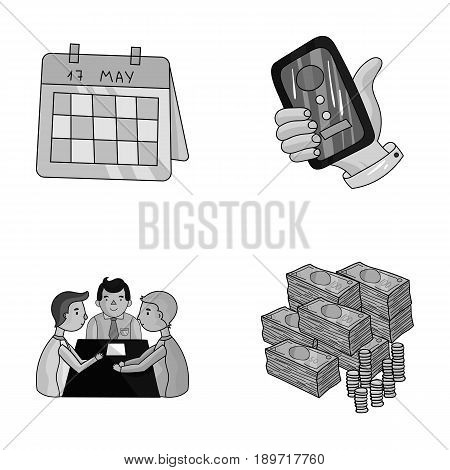Calendar, telephone conference, agreement, cash.Business-conference and negotiations set collection icons in monochrjme style vector symbol stock illustration .