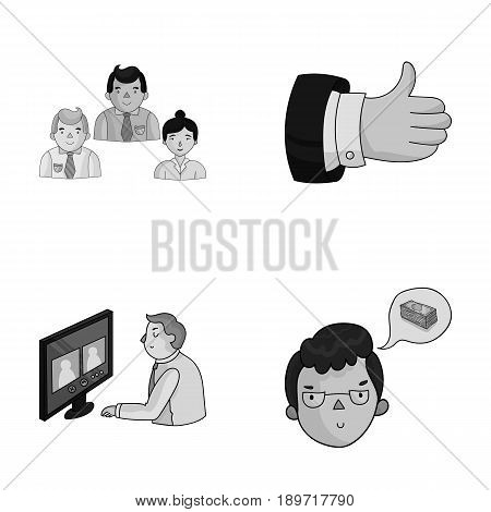 Videoconference, business thoughts, a badge of okay.Bizneskonferentsiya and negotiations set collection icons in monochrjme style vector symbol stock illustration .