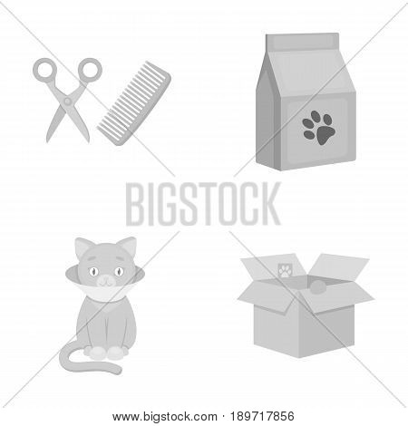 A haircut for cats, a house, a box, a sick cat.Cat set collection icons in monochrome style vector symbol stock illustration .