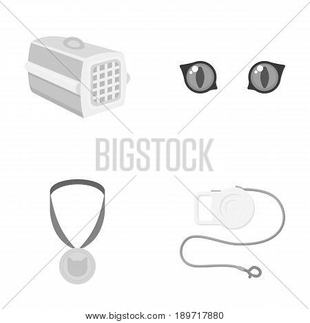 Cat s eyes, medal, leash tape measure, container for the animal.Cat set collection icons in monochrome style vector symbol stock illustration .