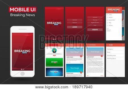 Mobile App Breaking News Material Design Ui, Ux, Gui. Responsive Website.