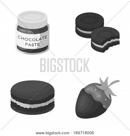 Chocolate pasta, biscuit, strawberry in chocolate, hamburger. Chocolate desserts set collection icons in monochrome style vector symbol stock illustration .