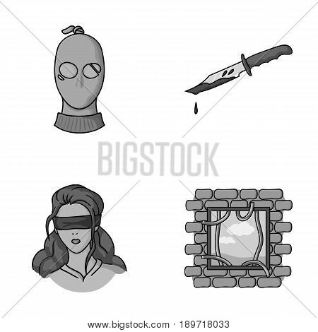 A thief in a mask, a bloody knife, a hostage, an escape from prison.Crime set collection icons in monochromet style vector symbol stock illustration .