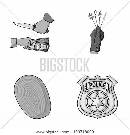 Robbery attack, fingerprint, police officer s badge, pickpockets.Crime set collection icons in monochromet style vector symbol stock illustration .