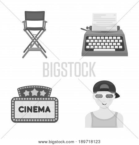 Chair of the director, typewriter, cinematographic signboard, film-man. Films and cinema set collection icons in monochrome style vector symbol stock illustration .