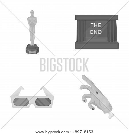 Award Oscar, movie screen, 3D glasses. Films and film set collection icons in monochrome style vector symbol stock illustration .