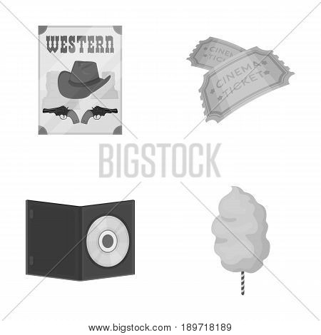 Western cinema, tickets, sweet cotton wool, film on DVD.Filmy and cinema set collection icons in monochrome style vector symbol stock illustration .