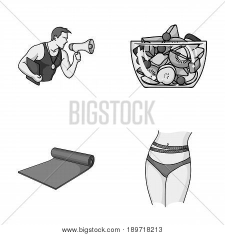 Personal trainer, fruit salad, mat, female waist. Fitnes set collection icons in monochromet style vector symbol stock illustration .