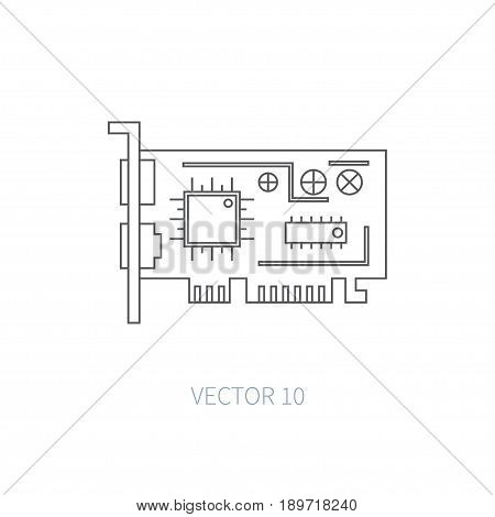 Flat line vector computer part icon - video card. Cartoon style. Illustration , element for your design. Simple. Monochrome. Pc collection. IT. Electronic computing systems. Server. Data Chip