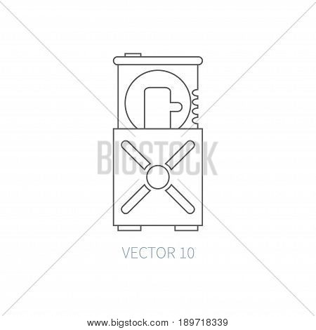 Flat line vector computer part icon - optical drive. Cartoon style. Illustration element for your design. Simple. Monochrome. Pc collection. IT. Electronic computing systems. Server. Data. Chip