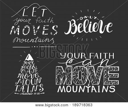 4 hand lettering with verses. Biblical background. Christian poster. New Testament. Emblem Logo