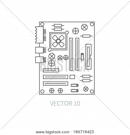Flat line vector computer part icon - motherboard. Cartoon style. Illustration, element for your design. Simple. Monochrome. Pc collection. IT. Electronic computing systems. Server. Data Chip