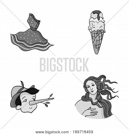 Italian dress, gelato, pinocchio, goddess of love. Italy set collection icons in monochrome style vector symbol stock illustration .