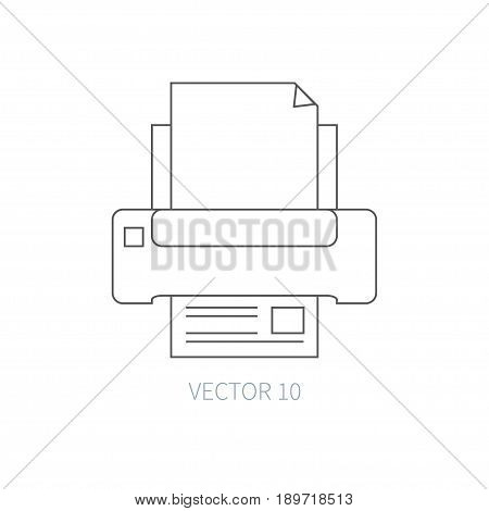 Flat line vector computer part icon - printer. Cartoon style. Illustration, element for your design. Simple. Monochrome. Pc collection. IT. Electronic computing systems. Server. Data Chip Ink