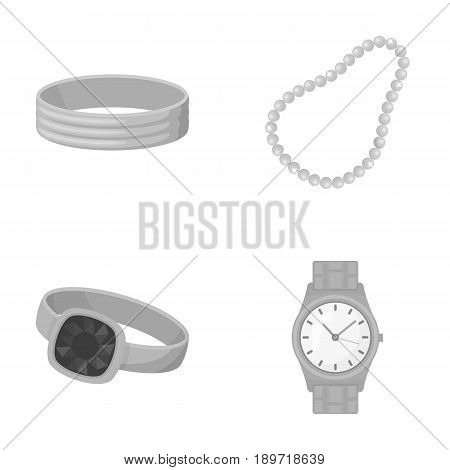 Engagement ring, beads from pearls, men s ring, wristwatch gold. Jewelery and accessories set collection icons in monochrome style vector symbol stock illustration .